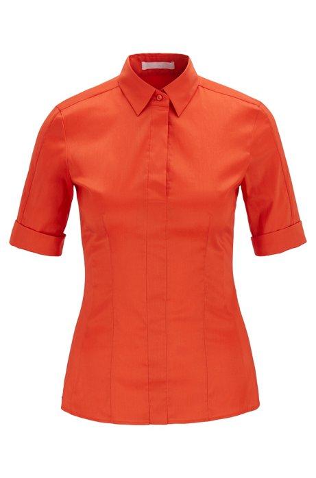 Slim-fit blouse van een katoenmix met nepsluiting , Oranje