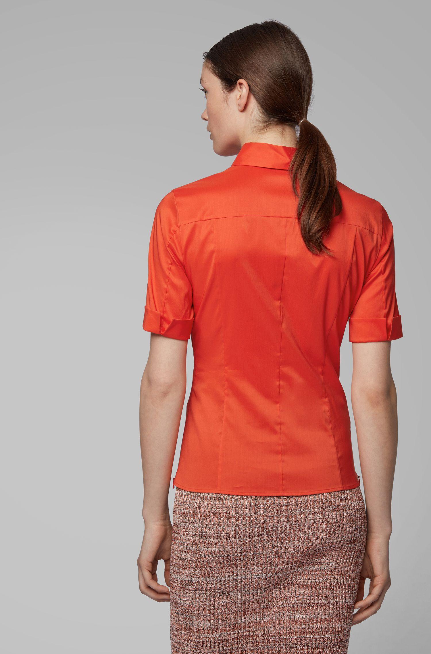 Slim-fit cotton-blend blouse with mock placket , Orange