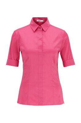 Slim-fit cotton-blend blouse with mock placket , Pink