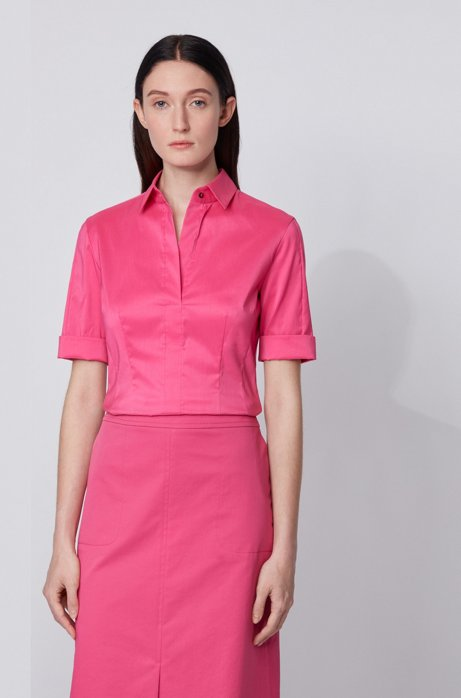 Slim-fit cotton-blend blouse with mock placket , Pink