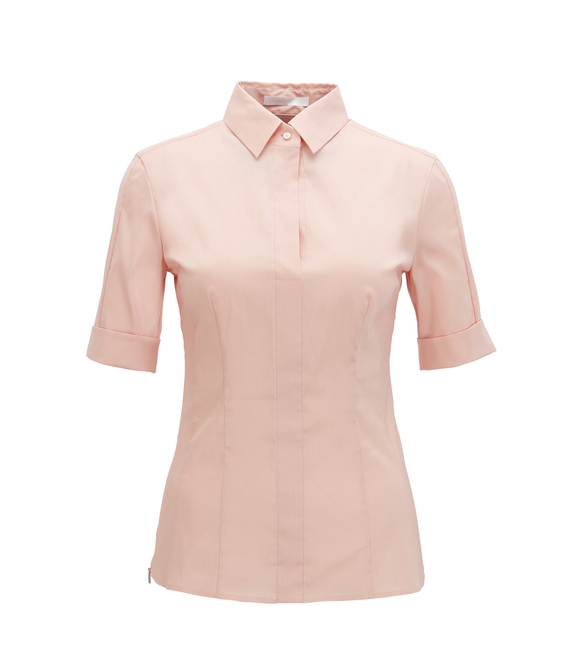 Slim-fit cotton-blend blouse with mock placket , light pink
