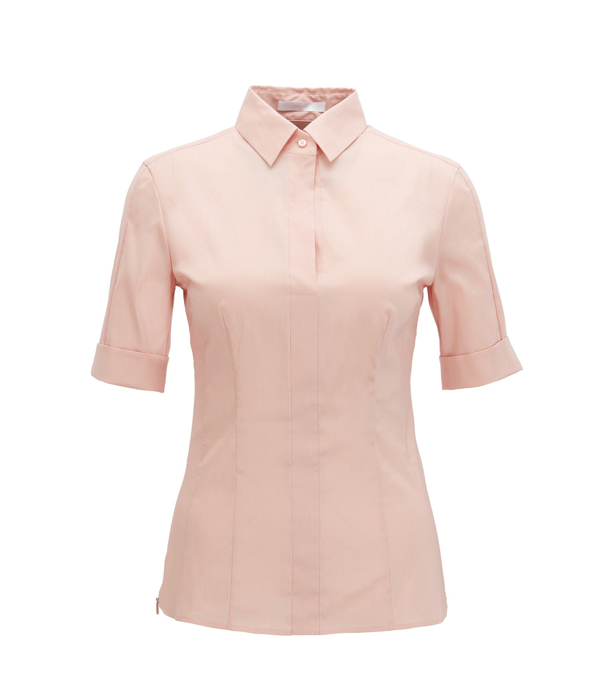 Slim-fit blouse van een katoenmix met nepsluiting , Lichtroze