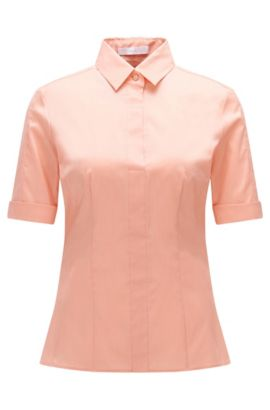 Slim-fit cotton-blend blouse with mock placket by BOSS Womenswear Fundamentals, Open Pink