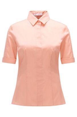 Chemisier Slim Fit BOSS Femme Fundamentals en coton mélangé, avec une patte de boutonnage factice, Rose clair