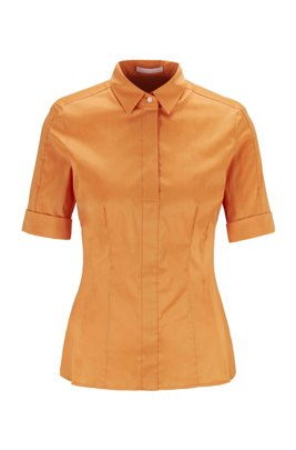 Slim-Fit Bluse aus Baumwoll-Mix mit falscher Knopfleiste , Orange