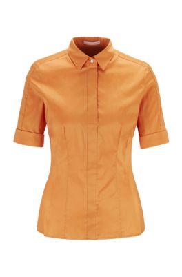 Slim-Fit Bluse aus Baumwoll-Mix mit falscher Knopfleiste , Orange
