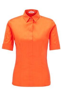 Slim-Fit Bluse aus Baumwoll-Mix mit angedeuteter Knopfleiste , Orange