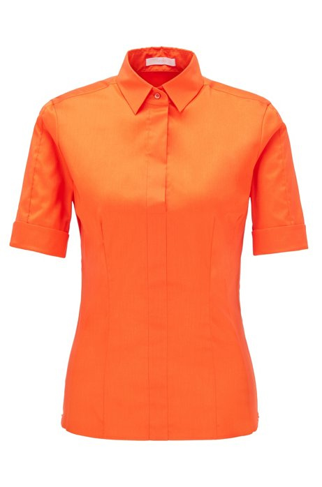 Slim-fit cotton-blend blouse with mock placket , Orange