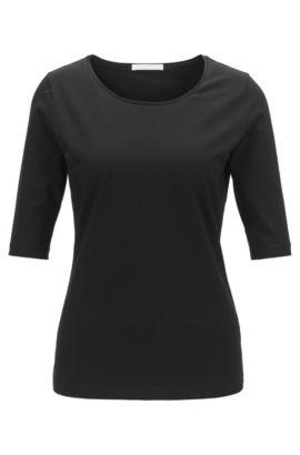 Essentiële top met zijden bies van BOSS Womenswear Fundamentals, Zwart