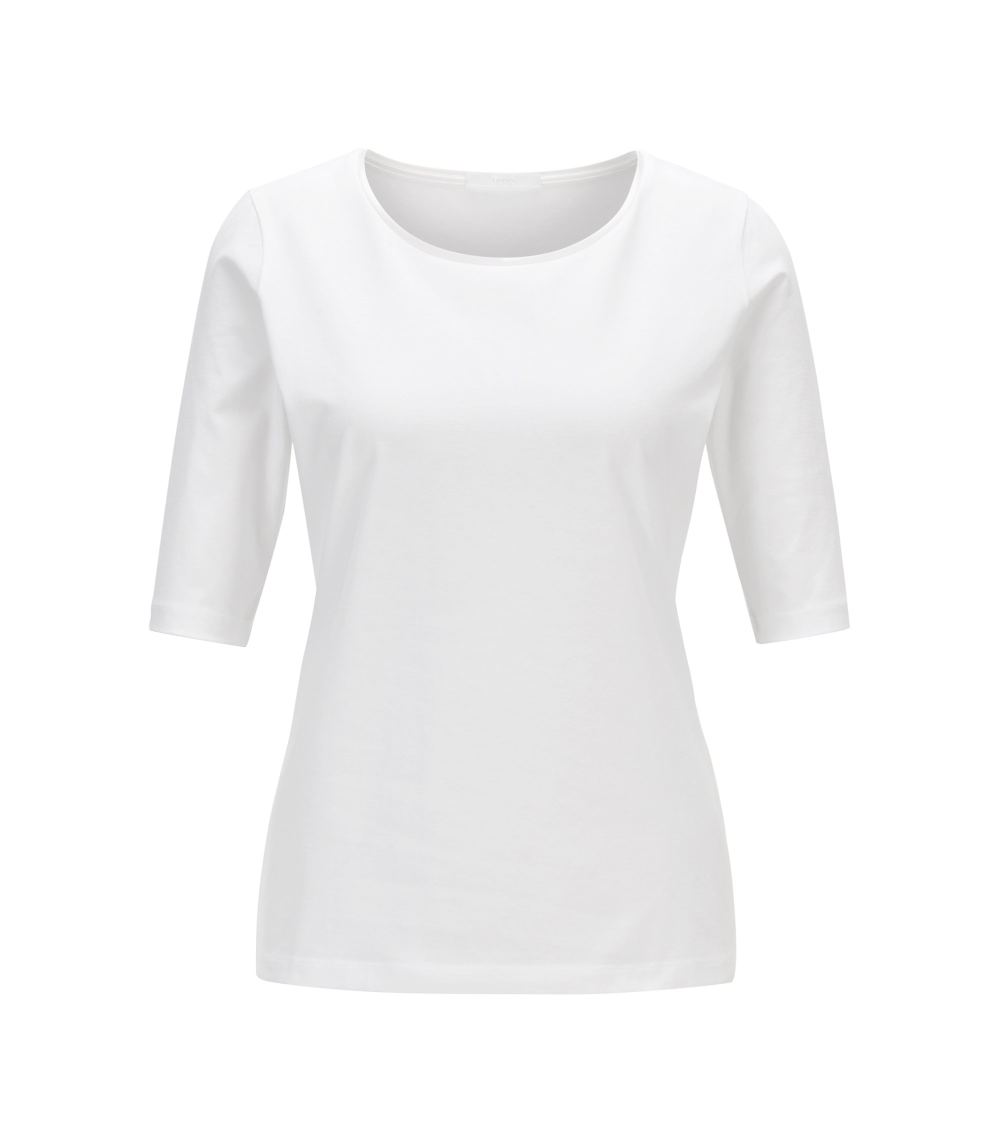 Essential top with silk trim , White