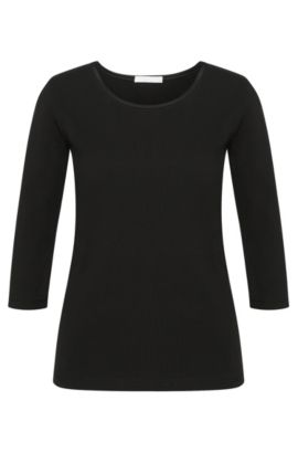 Slightly fitted shirt in stretch cotton with silk panel: 'Emmina', Black