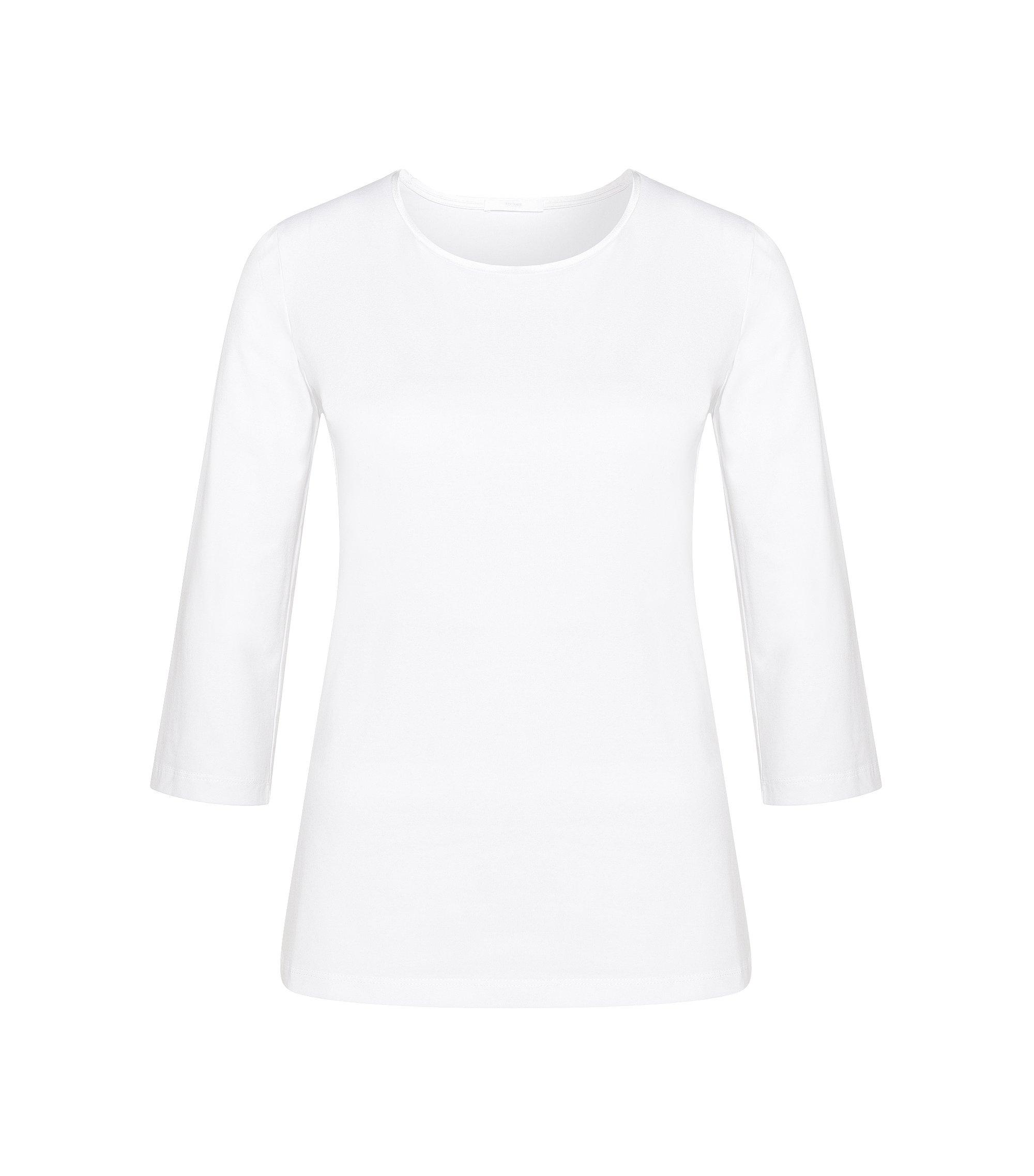 Maglietta leggermente sciancrata in cotone elasticizzato con banda in seta: 'Emmina', Bianco