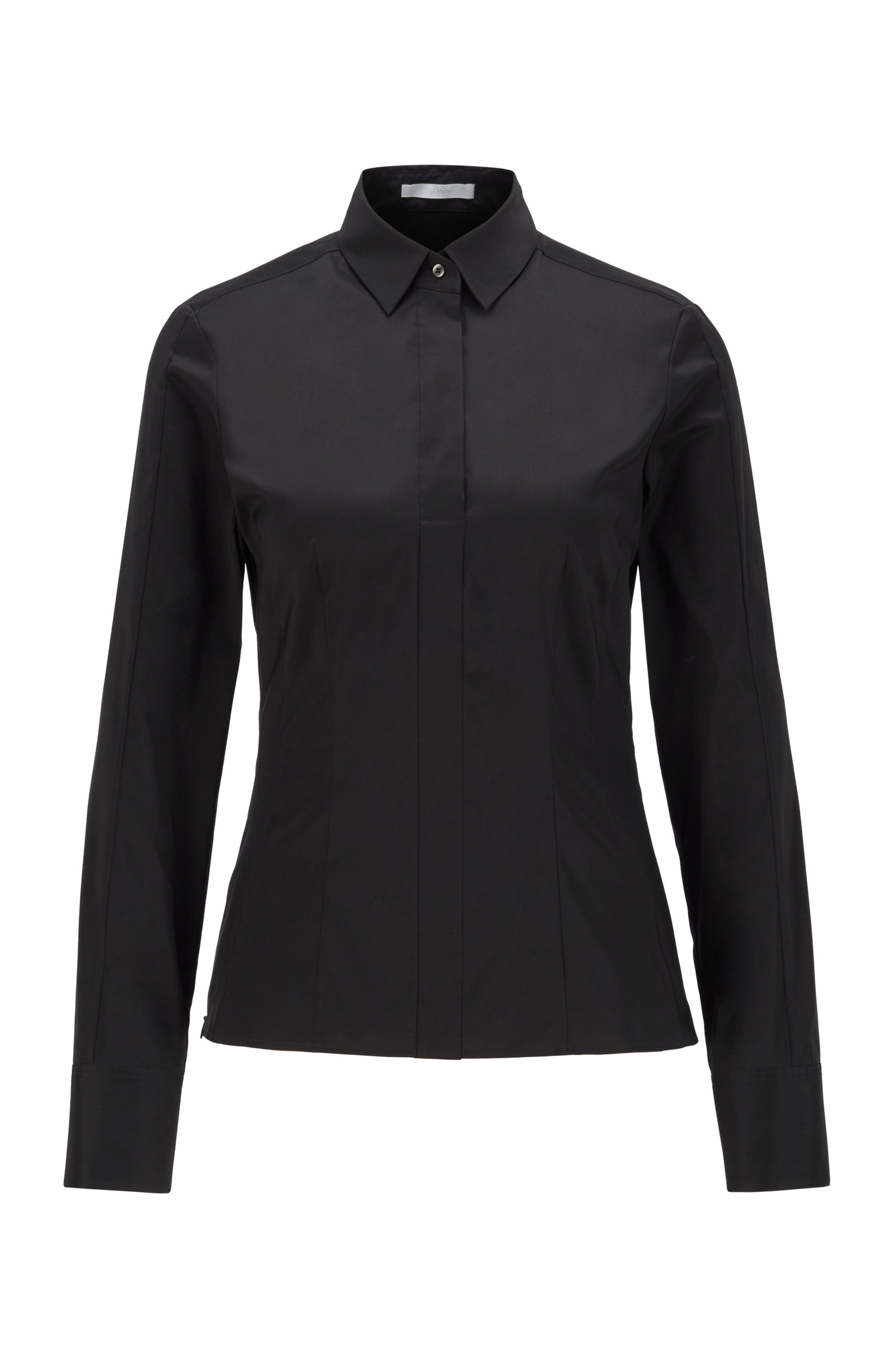 Slim-fit blouse with darted seam detail , Black