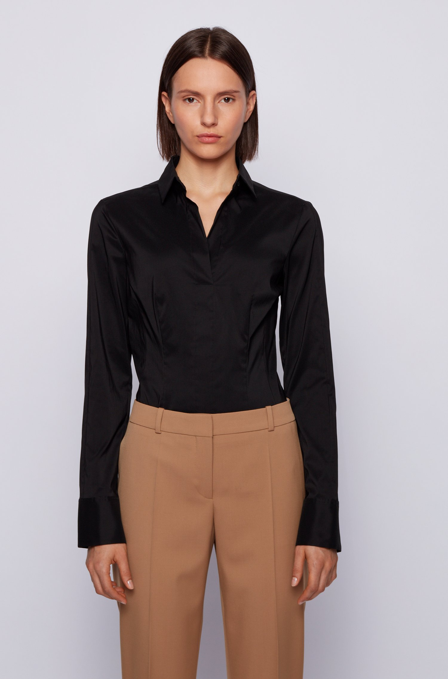 Slim-fit blouse in stretch cotton-blend poplin, Black
