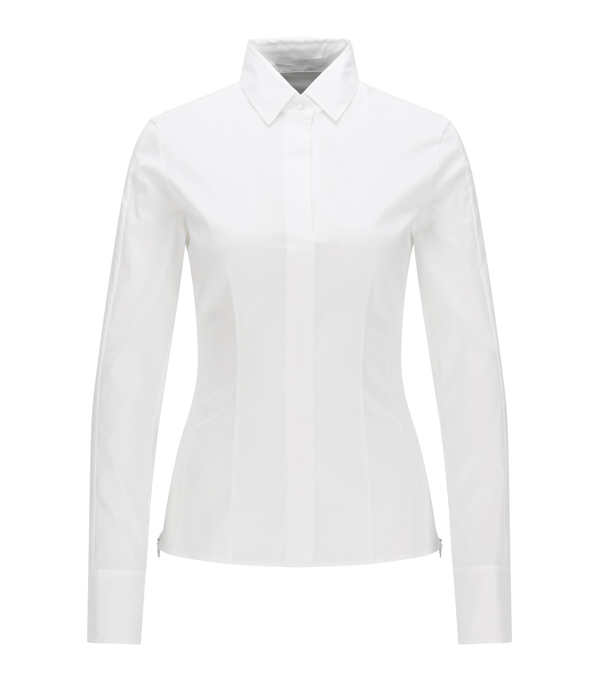 Slim-fit blouse met gestikt zoomdetail , Wit