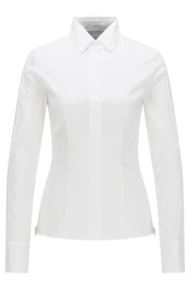 Slim-fit blouse met gestikt zoomdetail van BOSS Womenswear Fundamentals, Wit