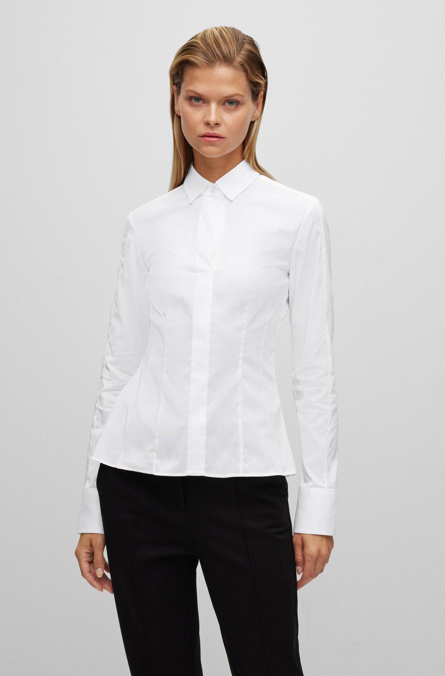 Slim-Fit Bluse aus elastischem Baumwoll-Mix mit Popeline-Struktur, Weiß