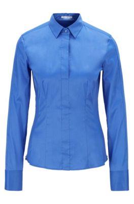 Slim-fit blouse met gestikt zoomdetail , Donkerblauw
