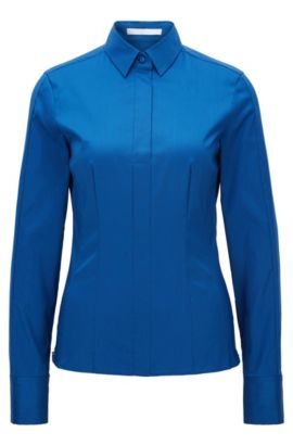 Slim-fit blouse met gestikt zoomdetail van BOSS Womenswear Fundamentals, Blauw