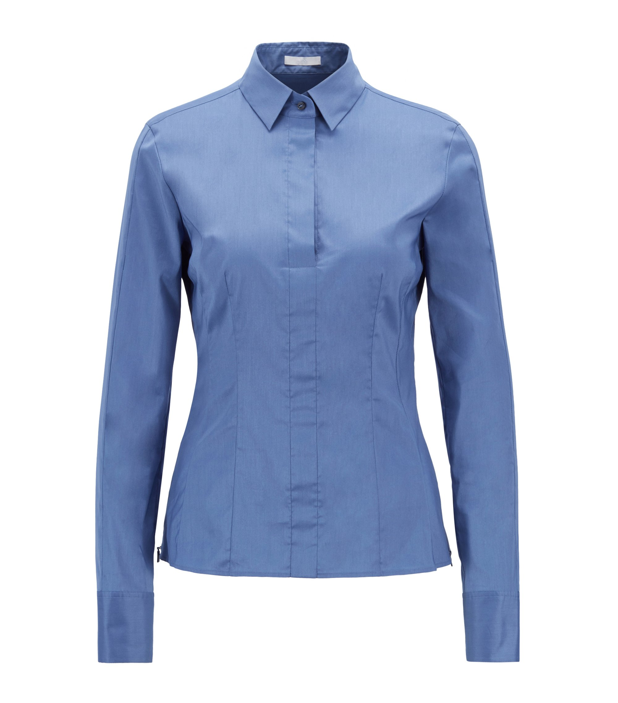 Slim-fit blouse met gestikt zoomdetail , Blauw