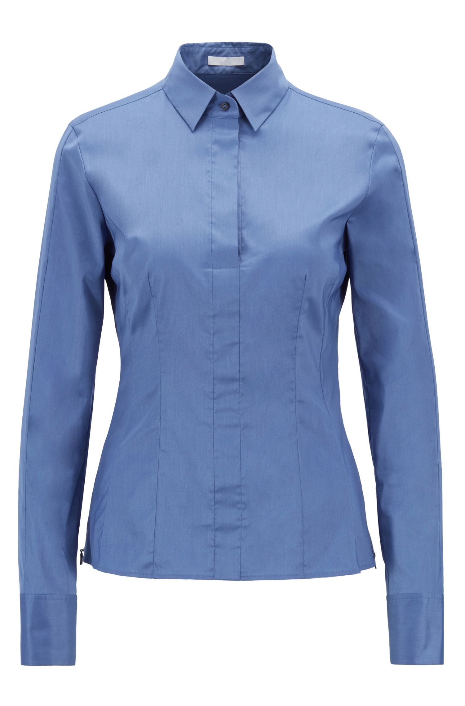 Slim-fit blouse with darted seam detail , Blue