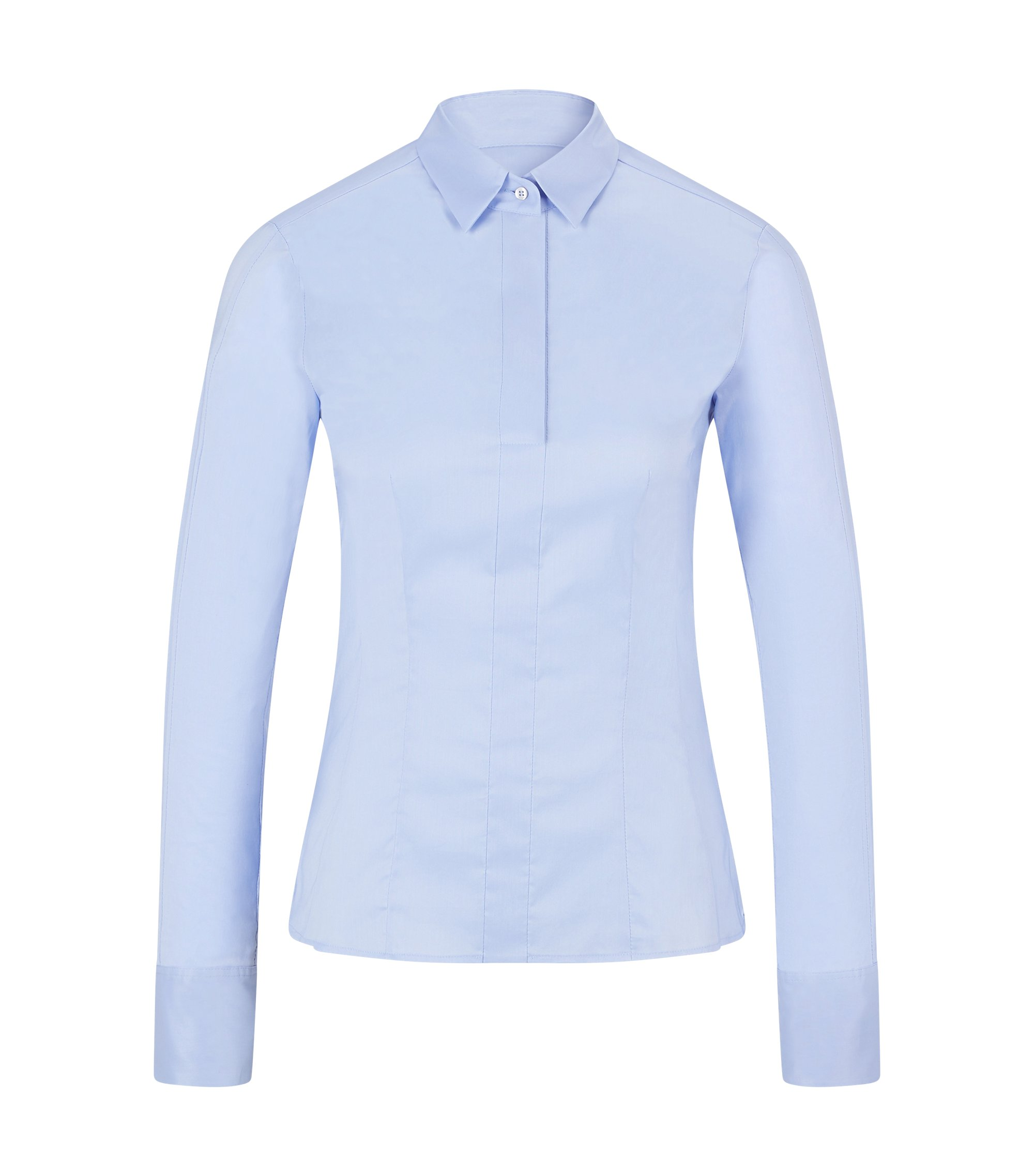 Slim-fit blouse with darted seam detail , Light Blue