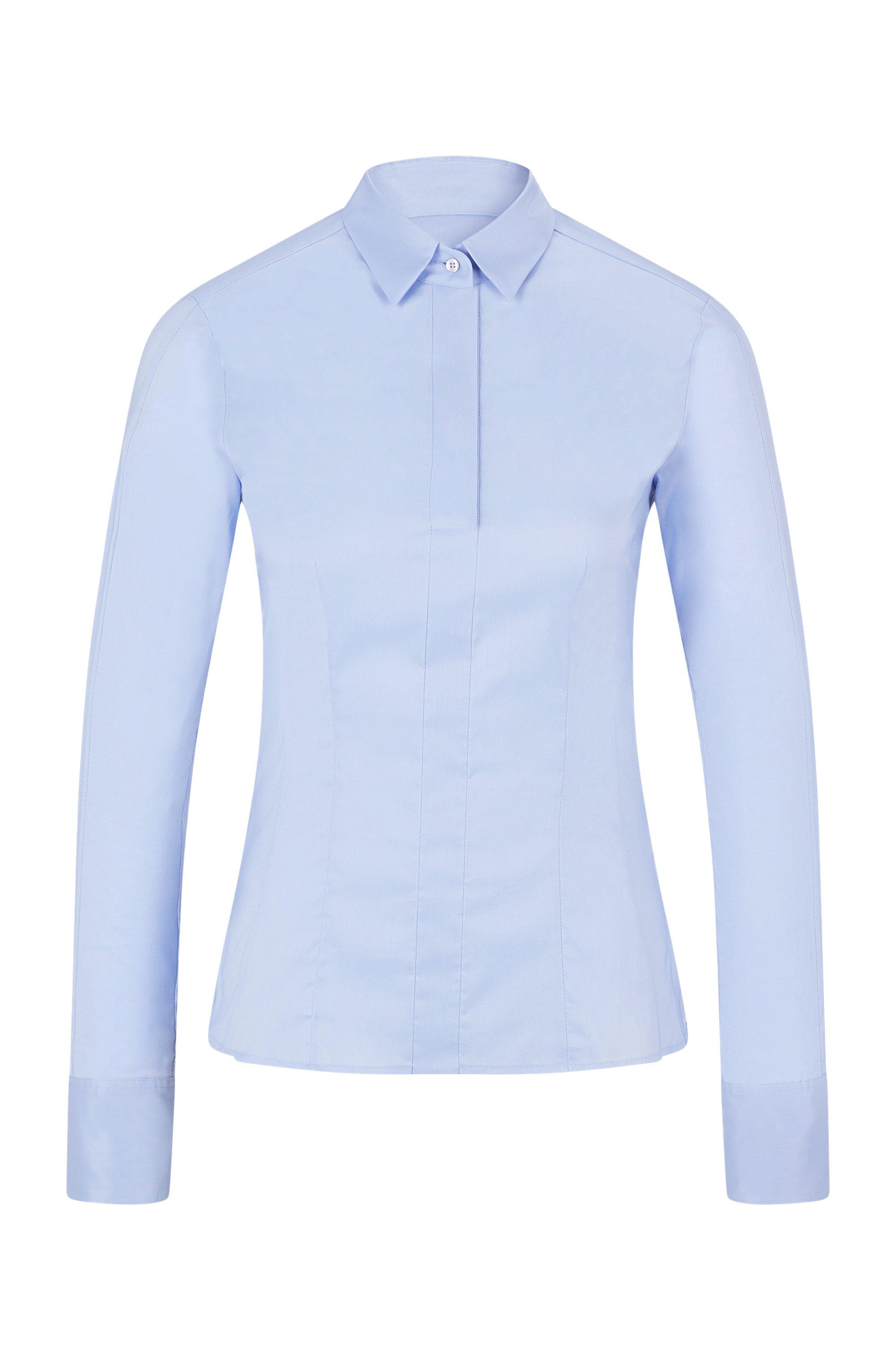 Slim-fit blouse in popeline van een katoenmix met stretch, Lichtblauw