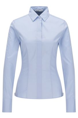 Slim-fit blouse met gestikt zoomdetail van BOSS Womenswear Fundamentals, Lichtblauw