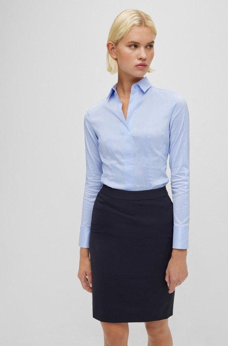 Slim-fit blouse in stretch cotton-blend poplin, Light Blue