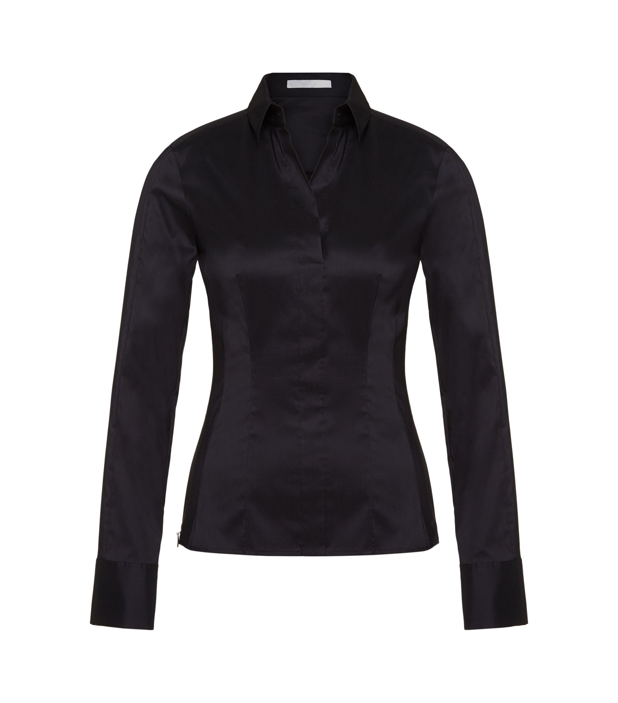 Slim-fit blouse with darted seam detail , Dark Blue