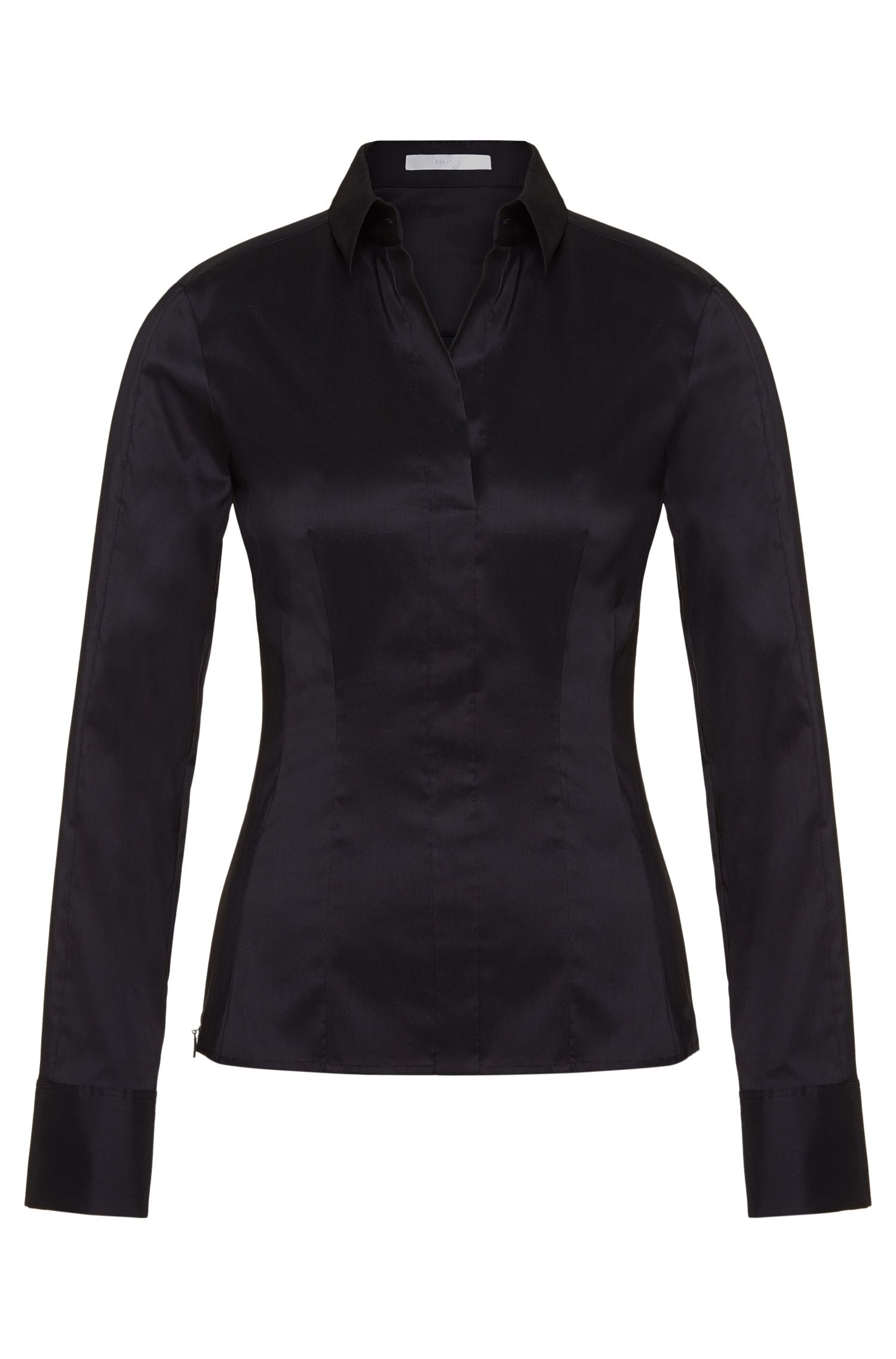 Slim-fit blouse met gestikt zoomdetail