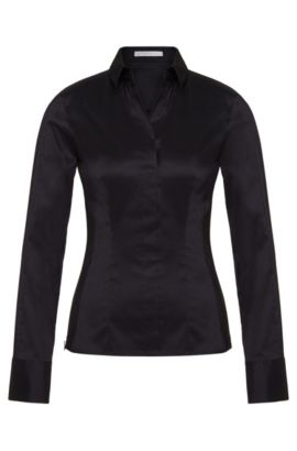 Slim-fit blouse with darted seam detail by BOSS Womenswear Fundamentals, Dark Blue