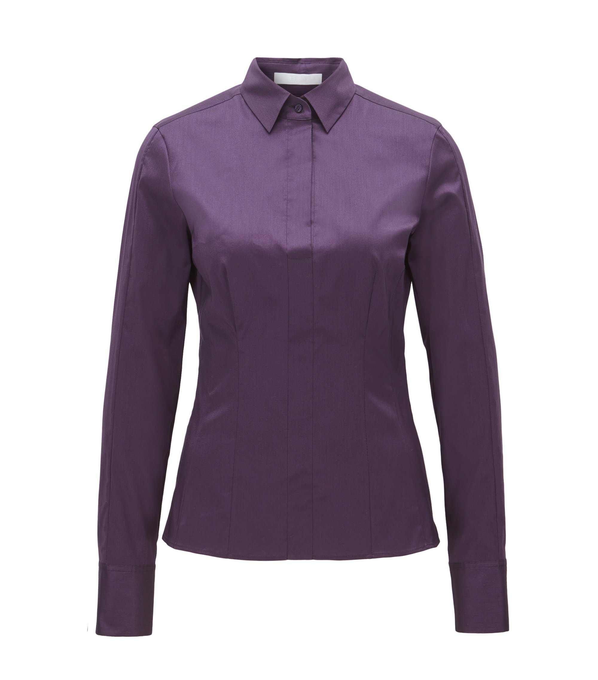 Slim-fit blouse with darted seam detail , Dark Purple