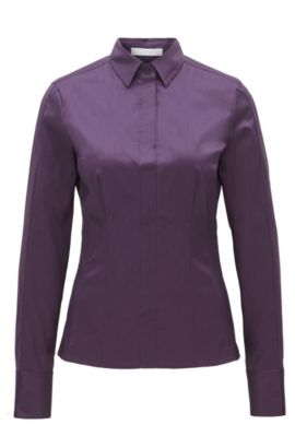 Slim-fit blouse met gestikt zoomdetail van BOSS Womenswear Fundamentals, Donkerpaars
