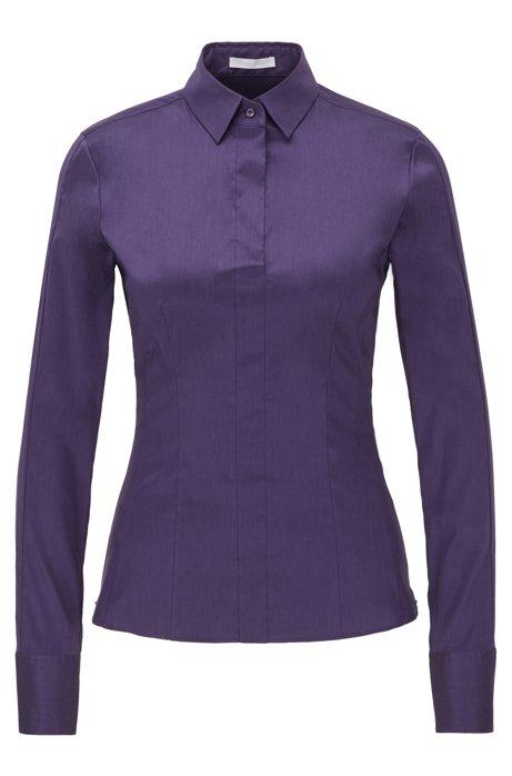 Slim-fit blouse with darted seam detail , Dark Purple