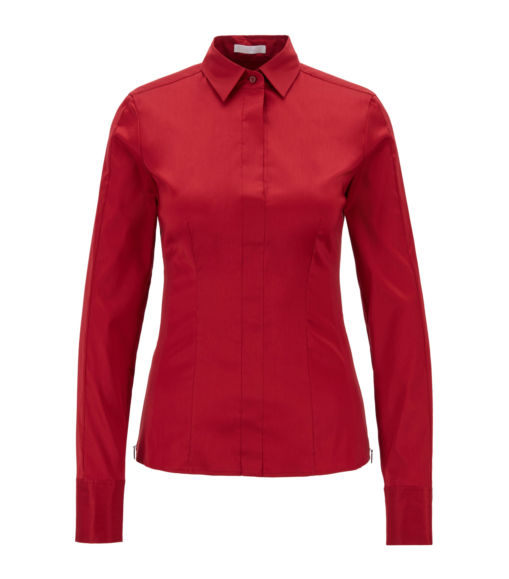 Slim-fit blouse met gestikt zoomdetail , Donkerrood