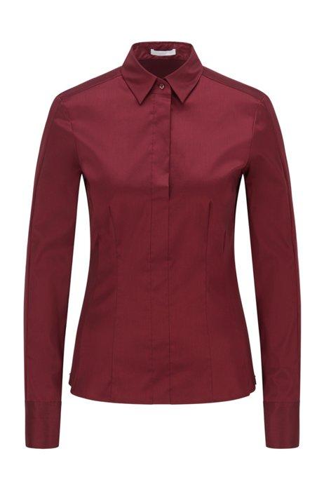 Slim-fit blouse in stretch cotton-blend poplin, Dark Red