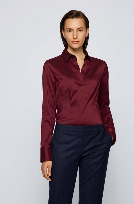 Slim-fit blouse in a cotton blend, Dark Red