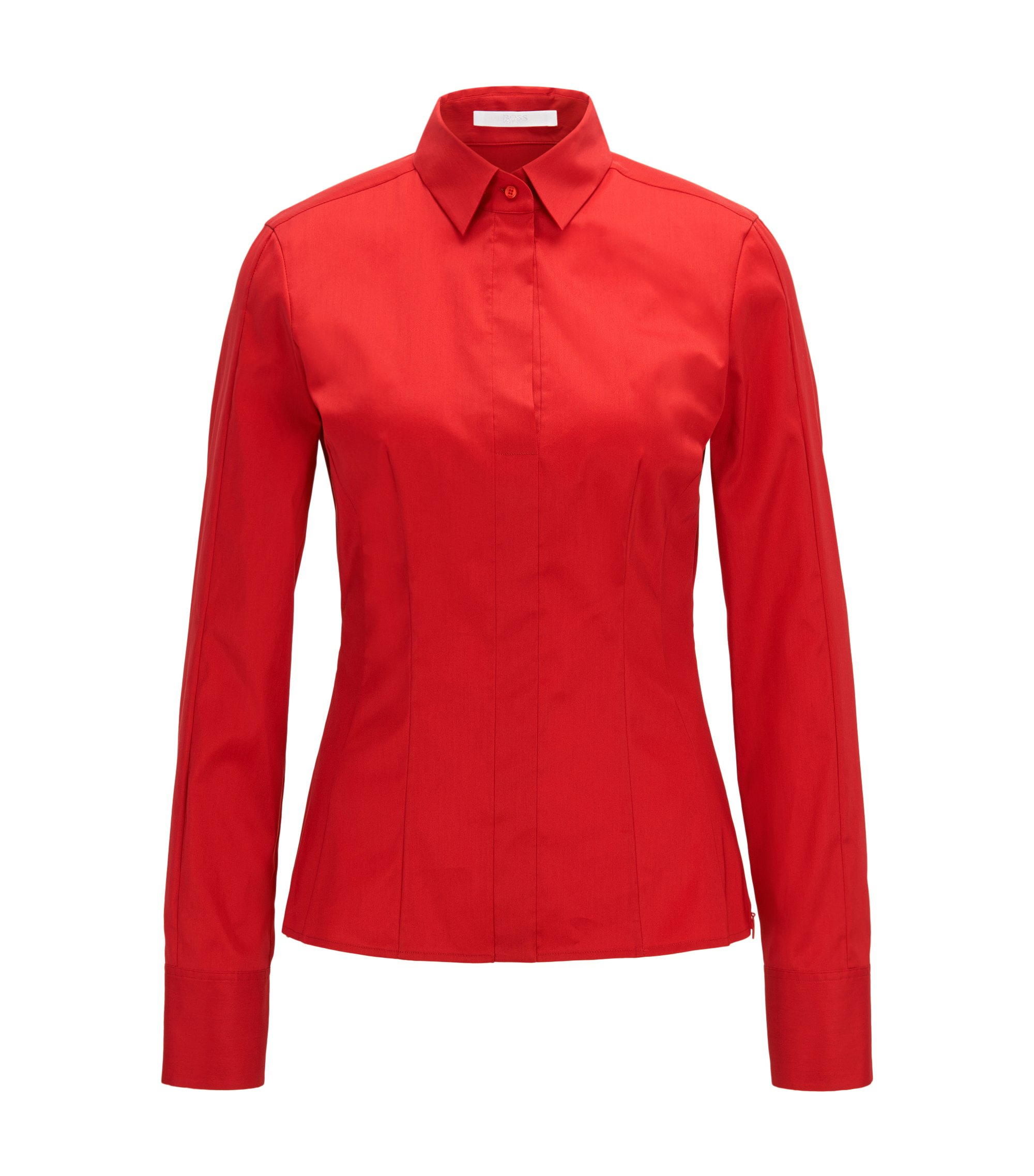 Slim-fit blouse met gestikt zoomdetail , Rood