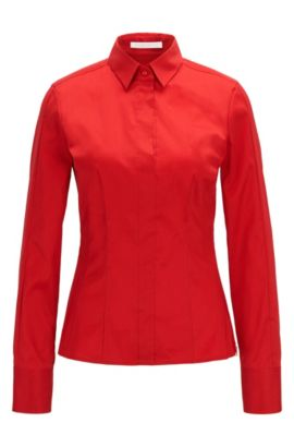 Slim-fit blouse met gestikt zoomdetail van BOSS Womenswear Fundamentals, Rood