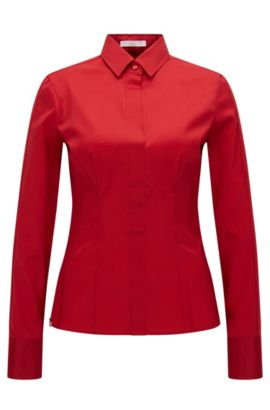 Slim-fit blouse with darted seam detail by BOSS Womenswear Fundamentals, Red