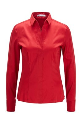 Slim-fit blouse with darted seam detail , Red