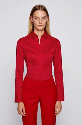 Chemisier Slim Fit à pinces , Rouge
