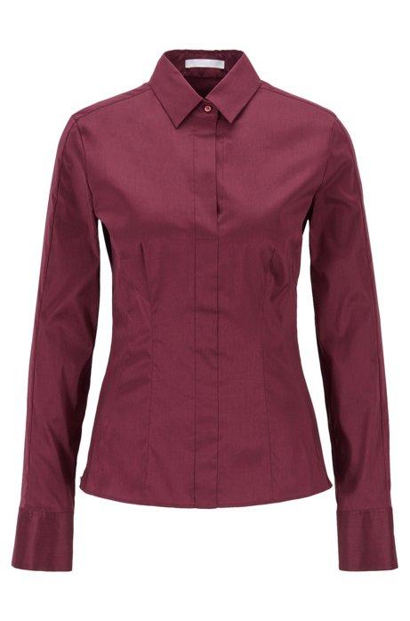 Slim-fit blouse met gestikt zoomdetail , Donkerroze