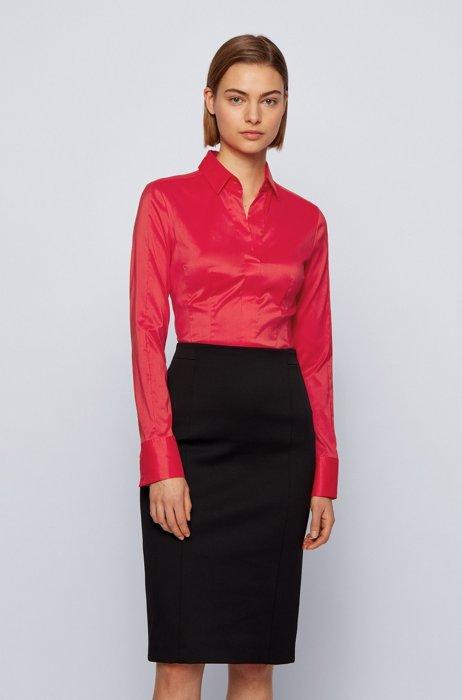 Slim-fit blouse in stretch cotton-blend poplin, Pink
