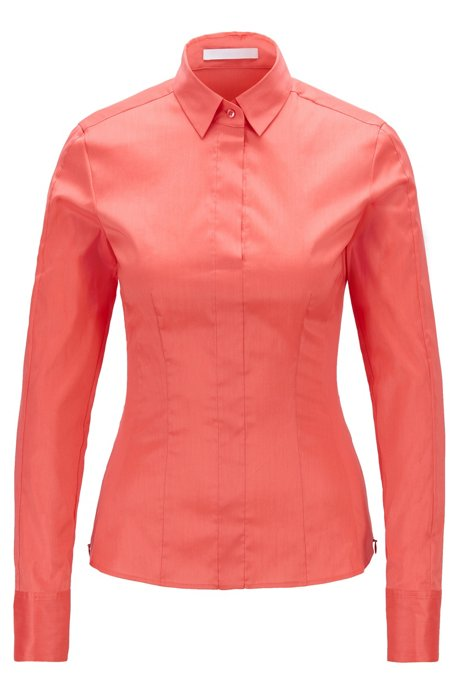 Slim-fit blouse met gestikt zoomdetail , Pink