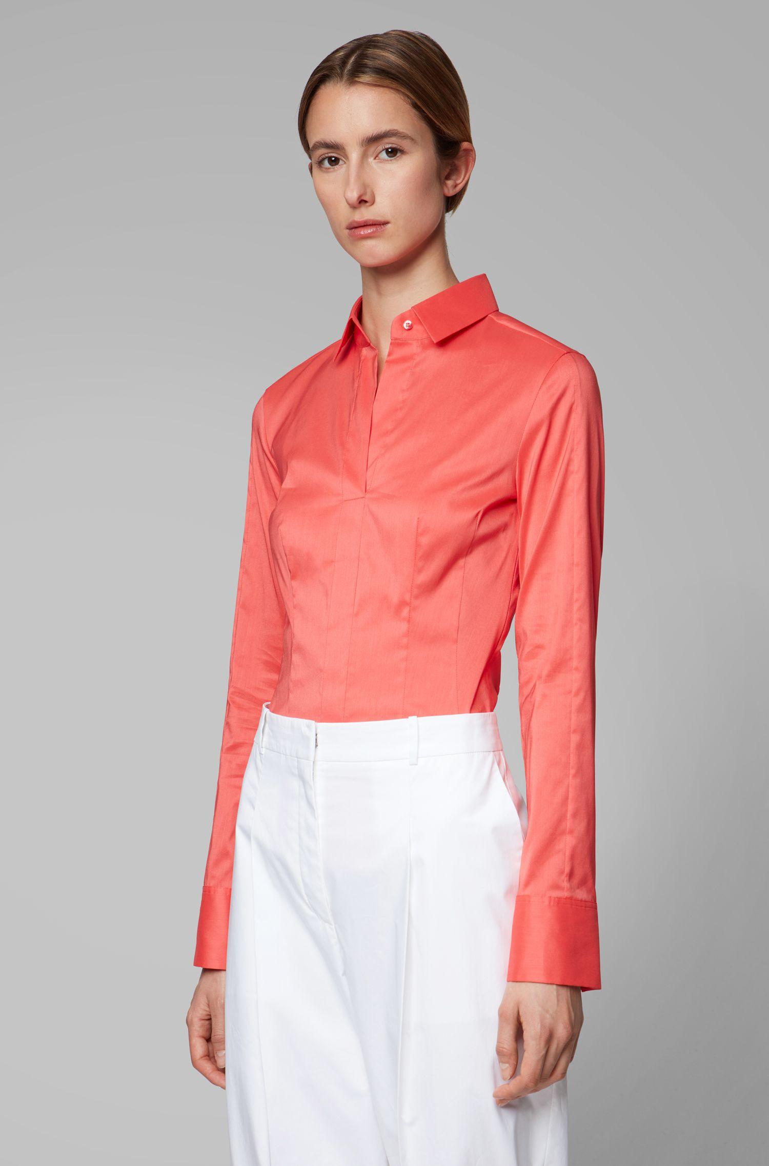 Slim-fit blouse met gestikt zoomdetail , Pink