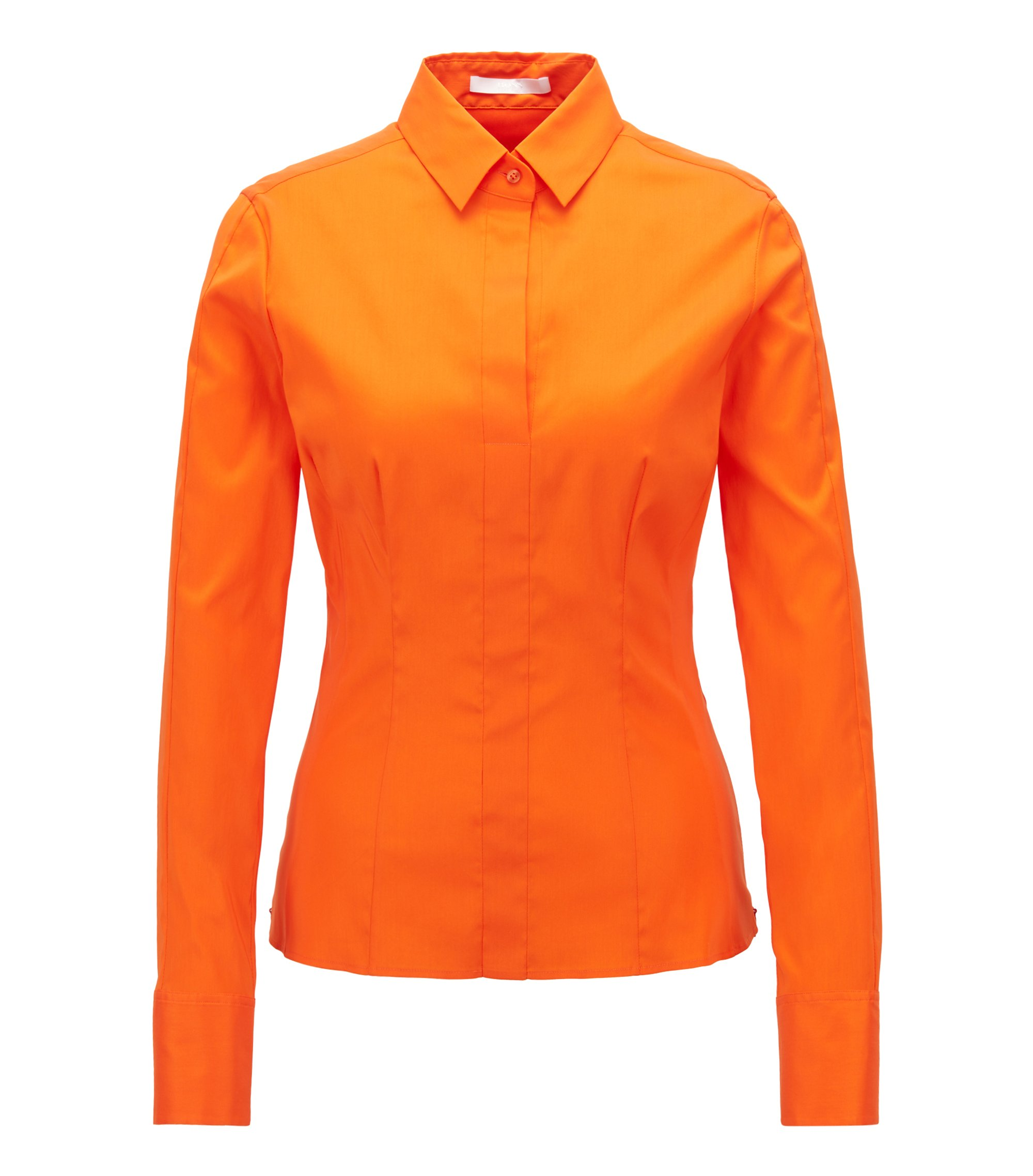Slim-Fit Bluse mit Abnähern , Orange