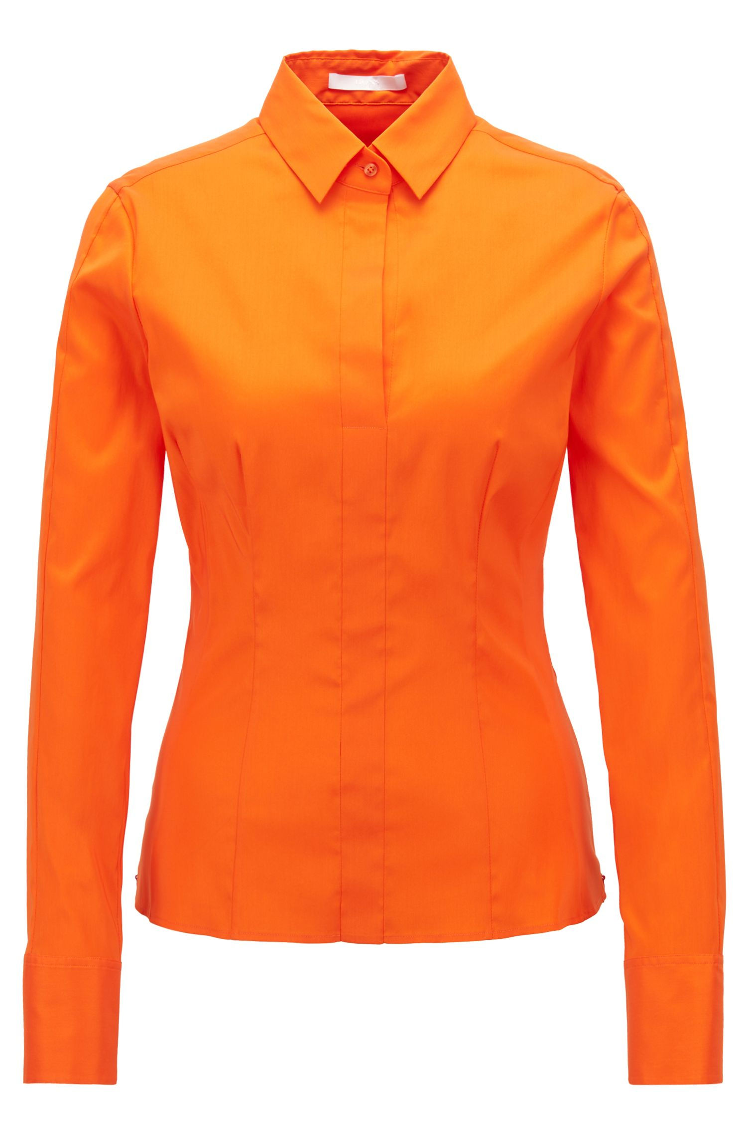 Slim-fit blouse met gestikt zoomdetail , Oranje