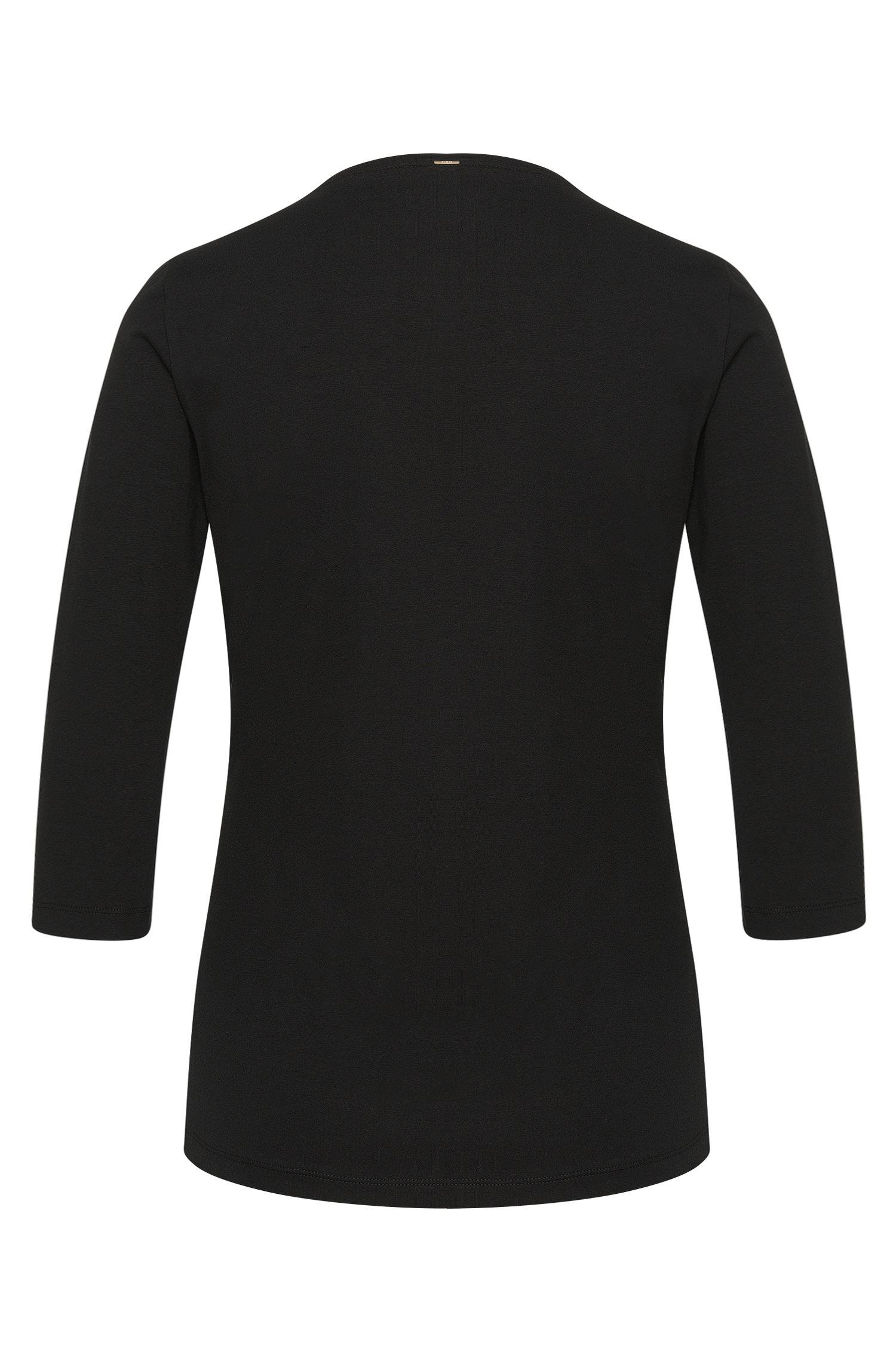 Jerseytop met plissédetail